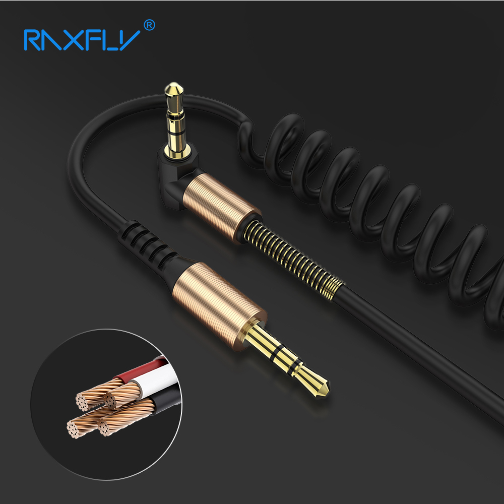 RAXFLY 3.5mm Jack Aux Cable 2M Gold Plated Car Spring Audio Cable jack 3.5 male to male speaker cable for Headphone Speaker skw audio cable speaker wire male to male hi end gold plated jack nylon cable lock adapter connector for hifi amplifier 5 16ft