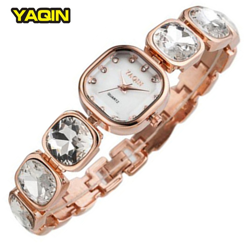 2016 Top Brand Women s Bracelet Watches Luxury Big Rhinestone Band Square Dial Rose Gold YAQIN