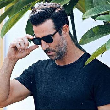 HUHAITANG Luxury Mens Sunglasses Men Brand Vintage Suqare Leopard Sunglass Women 2019 Designer Small Rivet Sun Glasses For Woman 1
