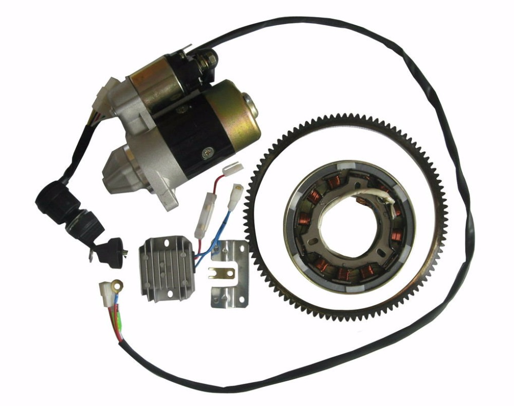 3KW ELECTRIC START KIT FOR YANMAR L48 2KW DIESEL STARTER MOTOR  KEY SWITCH  FLYWHEEL RING GEAR AVR  MAGNETIC DRUM REFIT PARTS