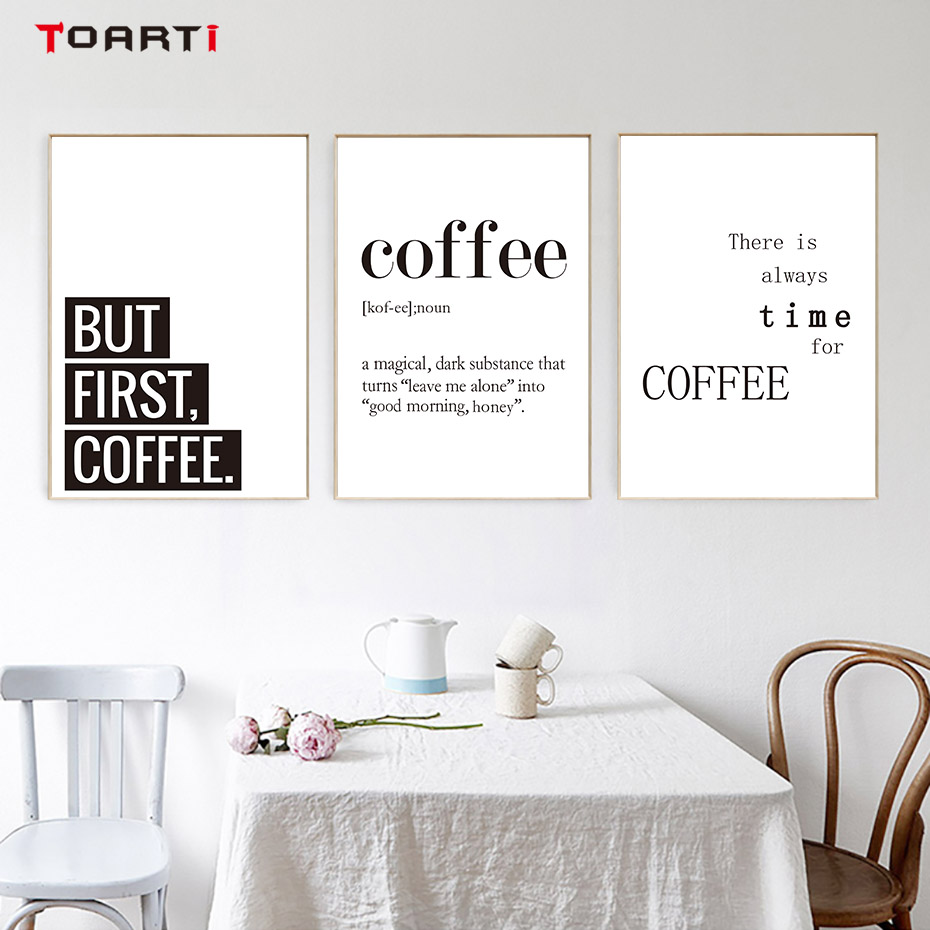 Creative Coffee Life Quote Wall Art Black&White Prints Canvas Painting Nordic Modern Vintage Poster Living Room Home Decor Mural (5)