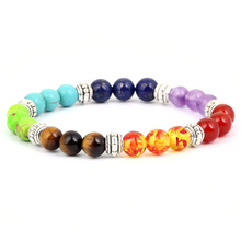 Explosion Fashion Hot 7 Chakra Healing Yoga Reiki Prayer Jewelry Charm Natural Stone Bracelet Accessories
