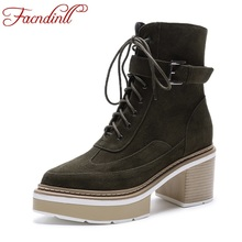 FACNDINLL shoes 2017 autumn winter ankle boots for women shoes platform high heels genuine leather shoes woman motorcycle boots