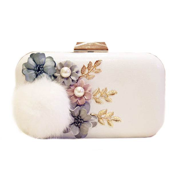 2016 Winter Fur Evening Bag White Clutch Bags Lady Wedding Purse Handbags PU Leather Day Clutches Shoulder Chain Bags  ZD484