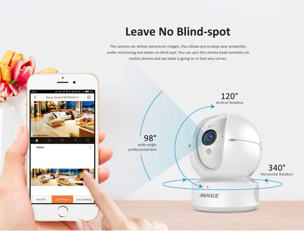 ANNKE 1080P Home Security IP PT Camera Wi-Fi Wireless Mini Network Camera  Surveillance Night Vision rotation Camera Baby Monitor