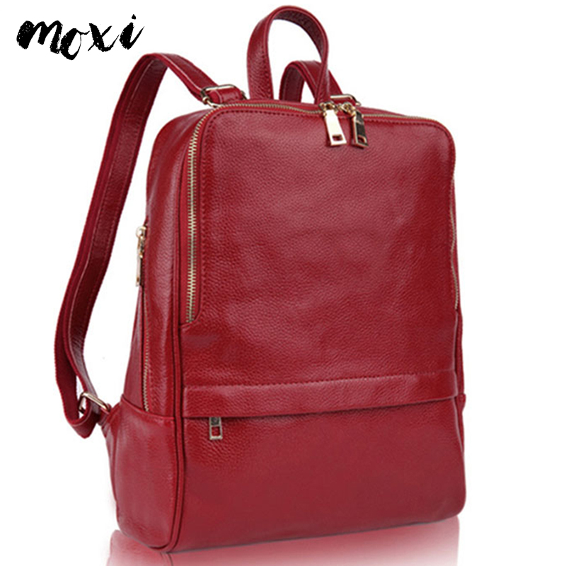 Moxi Backpack For Women Genuine Leather Women Shouulder Bag Brand Designer Female Travel Bag Casual Real Leather Laptop Backpack