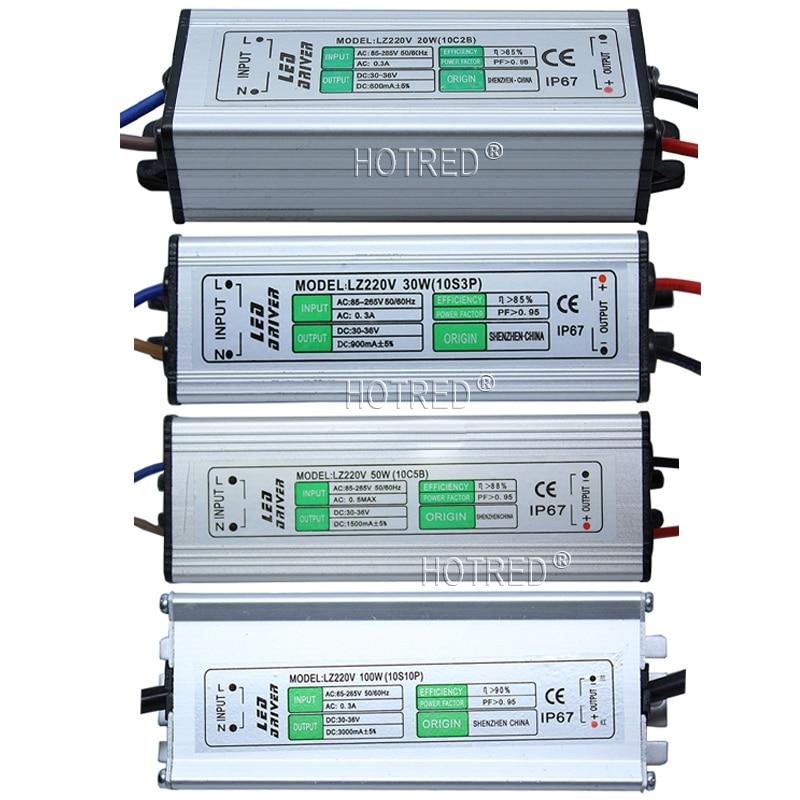 AC 85-265V To DC 3 -10V / DC 30 - 36V LED Driver IP67 Waterproof Lighting Transformers Power Supply 10W 20W 30W 50W 100W