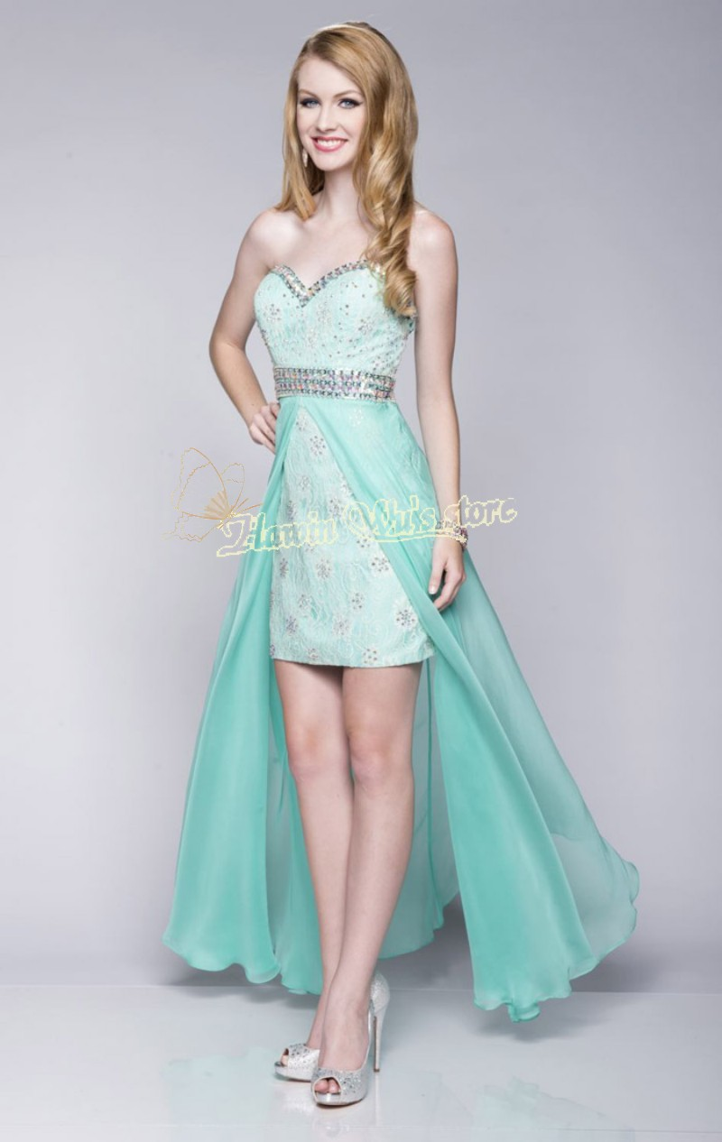 Vestidos Para Festa Fast Delivery High Low Lime Green Lace Prom ...