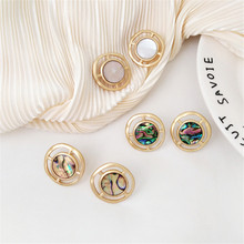 Simple fashion geometric circle small exquisite earrings temperament with colorful shell no ear hole clip