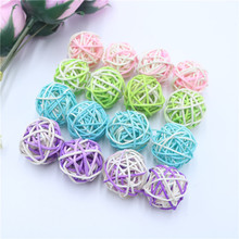 15pcs/lot 3cm Birthday Party Decor Wedding Decoration Double Color Rattan Ball Christmas Home Ornament