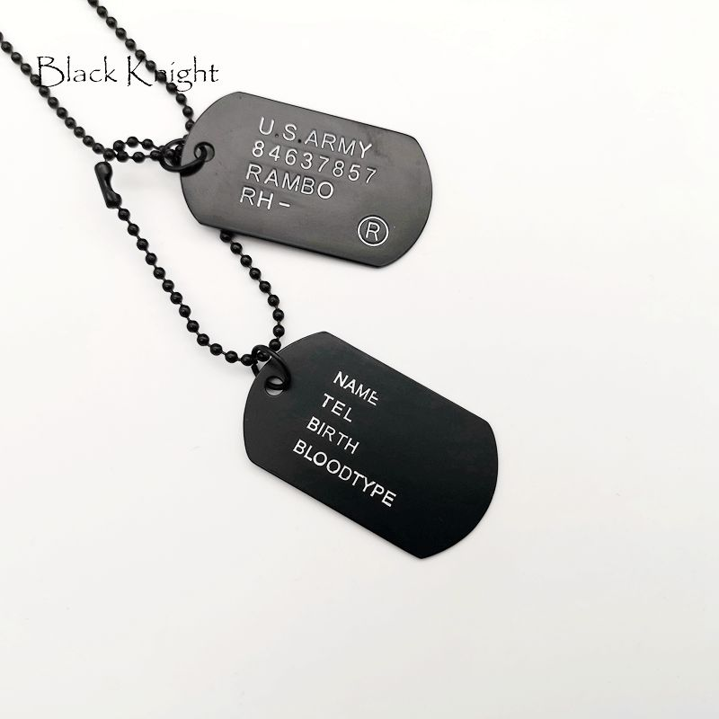 Black Knight Stainless steel mens dog tag necklaces double dog tag pendants necklace with 20 quot 24 quot 28 quot chains in Pendant Necklaces from Jewelry amp Accessories
