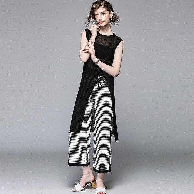 c70315a1b4d4e2 2018 Stand Collar Long Sleeve 2 Piece Set Women Crop Grid Top   Pencil  Skirt Co-Ord Ladies Elegant OL Style Twopiece split C18