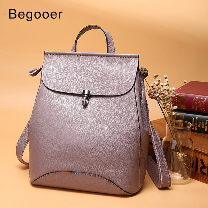 Genuine Leather Women s Backpacks Anti Theft Rucksack Ladies Travel Bags Female Preppy Style School Backpack