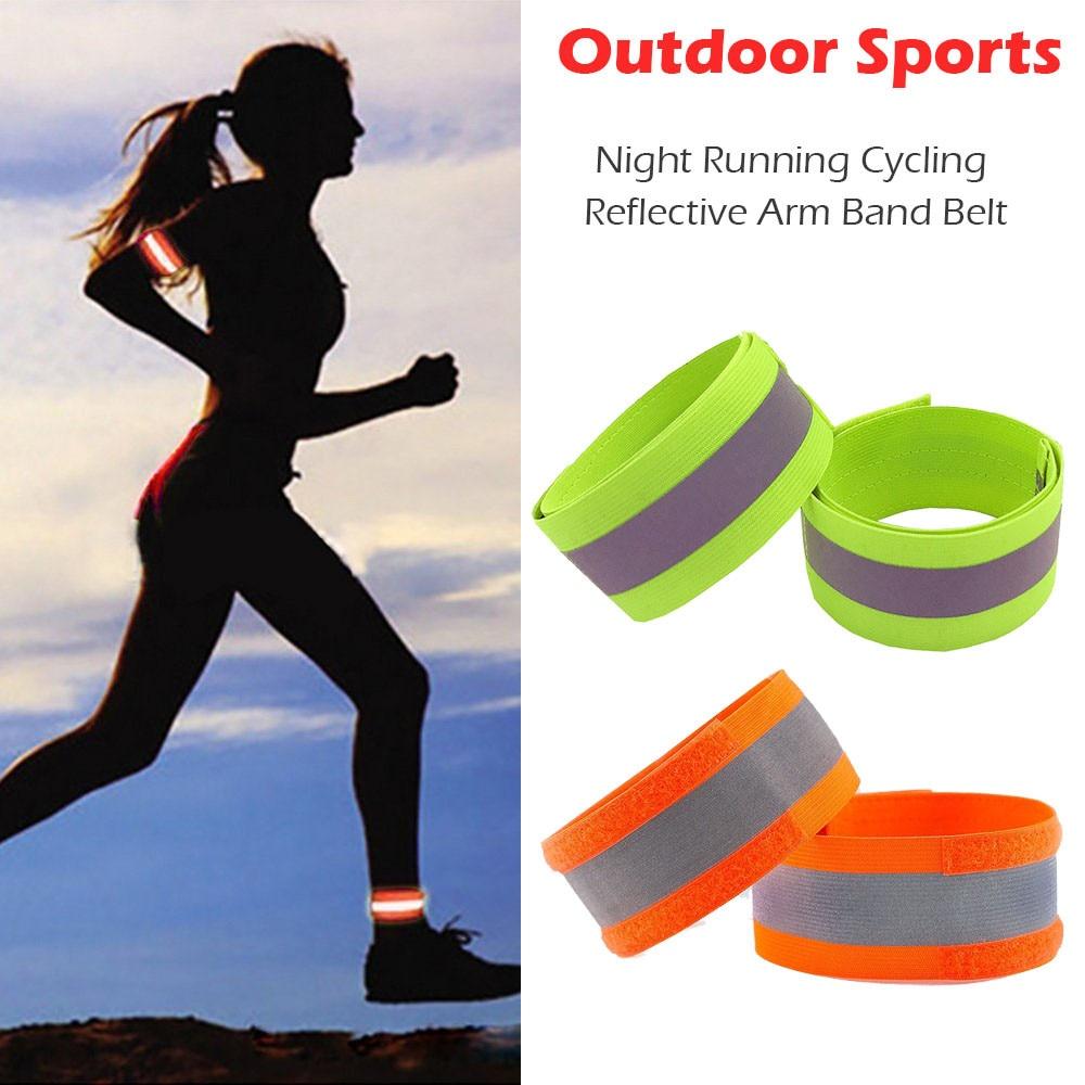 Night Safty Reflective Wrist Bands Arm Ankle Belt Strap Cycling Run ArmbandRKJO