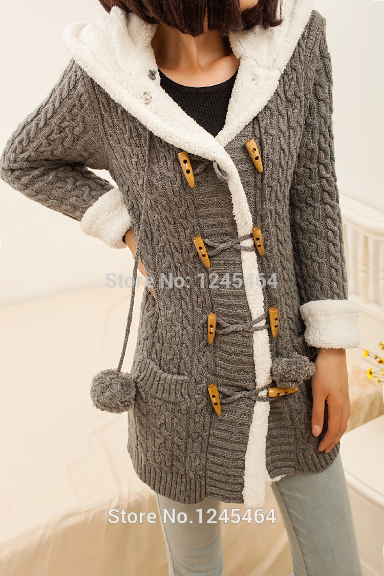 plus size 2014New winter cashmere sweater thick warm hooded ...