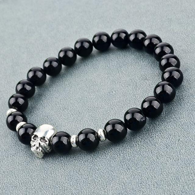 chicvie браслеты из натурального камня серебряного цвета с черепом фотография