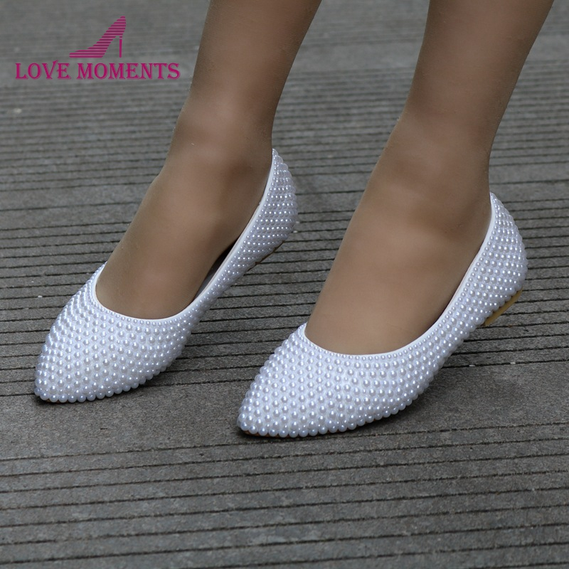 Customized Mother of Bride Shoes Plus Size White Color Pregnant Party Dress Shoes Flat Heel Bridesmaid Shoes Theatre Stage Shoes women wedding shoes flat heel round toes plus size bride shoes lady female sweet lace pearls proms dress evening party shoes