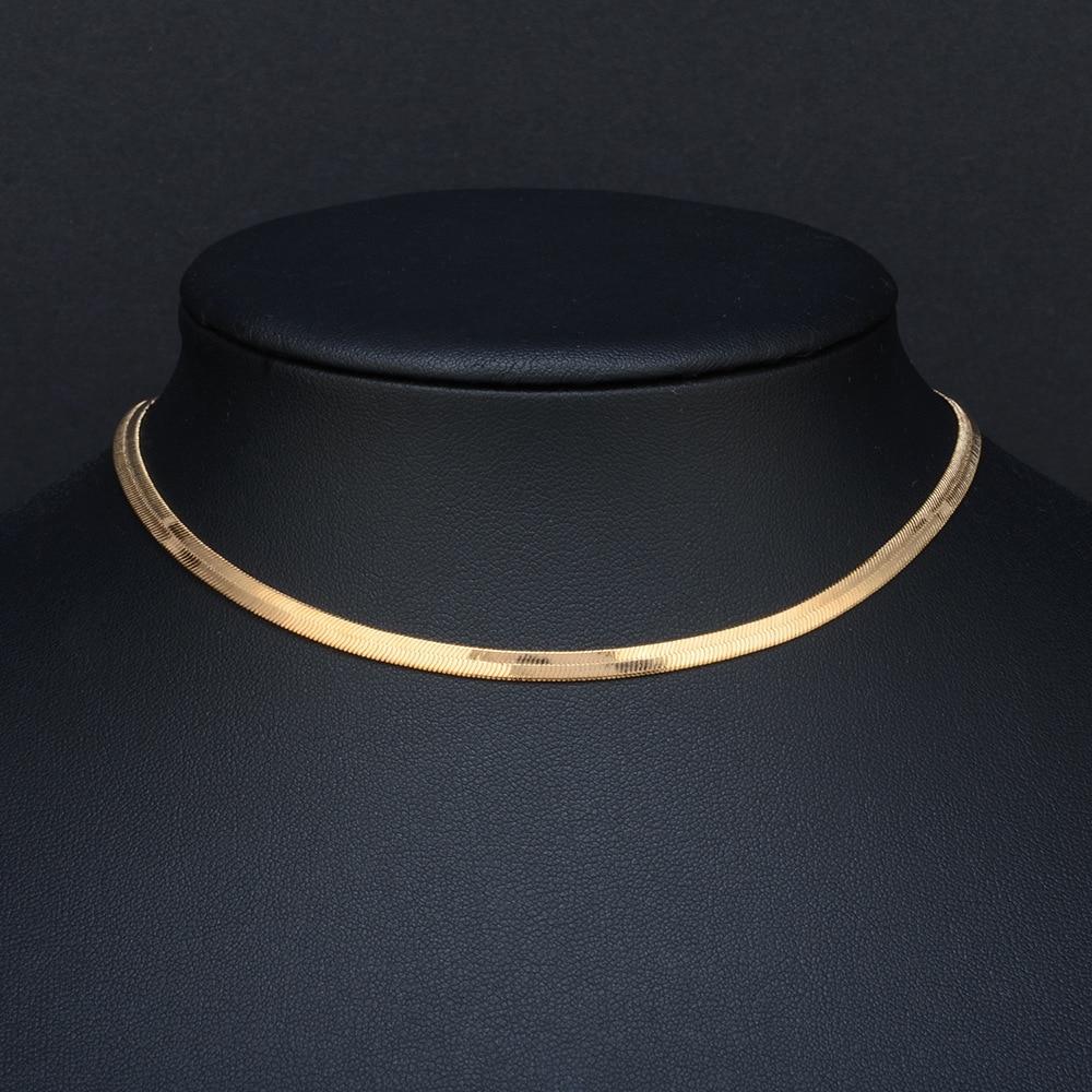 2019 haute qualité clavicule lame déclaration femmes or argent couleur acier inoxydable 35 + 5cm serpent collier ras du cou chaîne