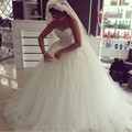 Beautiful Ball Gown Tulle Wedding Dress With Lace Flowers Sweetheart Neckline Strapless 2017