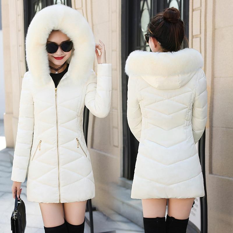 In Staat Bontkraag Hooded Winter Down Jas Bomberjack Warm Vrouwen Casaco Feminino Abrigos Mujer Invierno 2018 Gewatteerd Parka Uitloper Modieuze (In) Stijl;