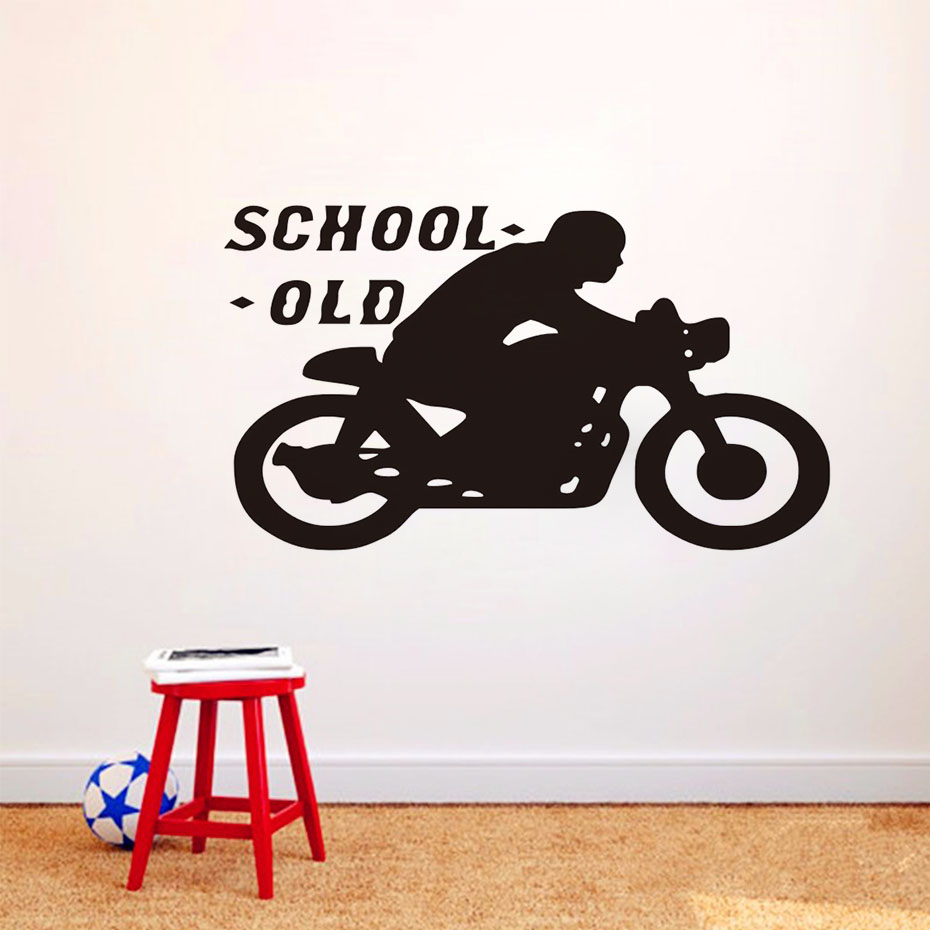 Old school motorcycle silhouette wall sticker funny vinyl - Childrens bedroom wall stickers removable ...
