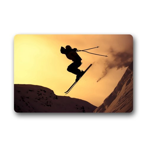 Custom alpine skiing / ski / skee sports winter snow Durable Indoor/Outdoor Stain - Resistant Door Mat 23.6(L) x 15.7(W)