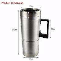 12ボルトステンレス鋼車加熱カップミルク水茶コーヒー瓶ウォーマー温水トラベルマグ用旅行キャン