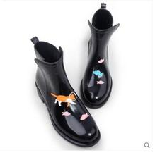 Women PVC Ankle Rain Boots Cute Cartoon Animals Waterproof Water Shoes Ladies Rainboots Non-slip Hard-Wearing Girl Rubber Shoes
