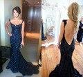 Negro Lentejuelas Turmpet Sirena 2015 de Largo Sin Espalda Vestido de Noche Tren de la Corte de la Reina Anne Por Encargo Elegante Sexy Vestidos de Fiesta Vestido