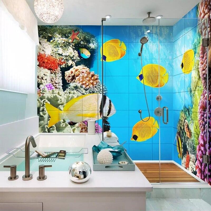 Photo Wallpaper 3D Cartoon Undersea World Murals PVC Self