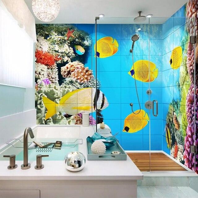 Photo Wallpaper 3D Cartoon Undersea World Murals PVC Self ...