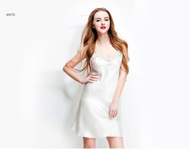 100% pure soie chemises de nuit femmes vêtements de nuit sexy robes de maison soie chemise de nuit SATIN nuisette dété style rose blanc noir