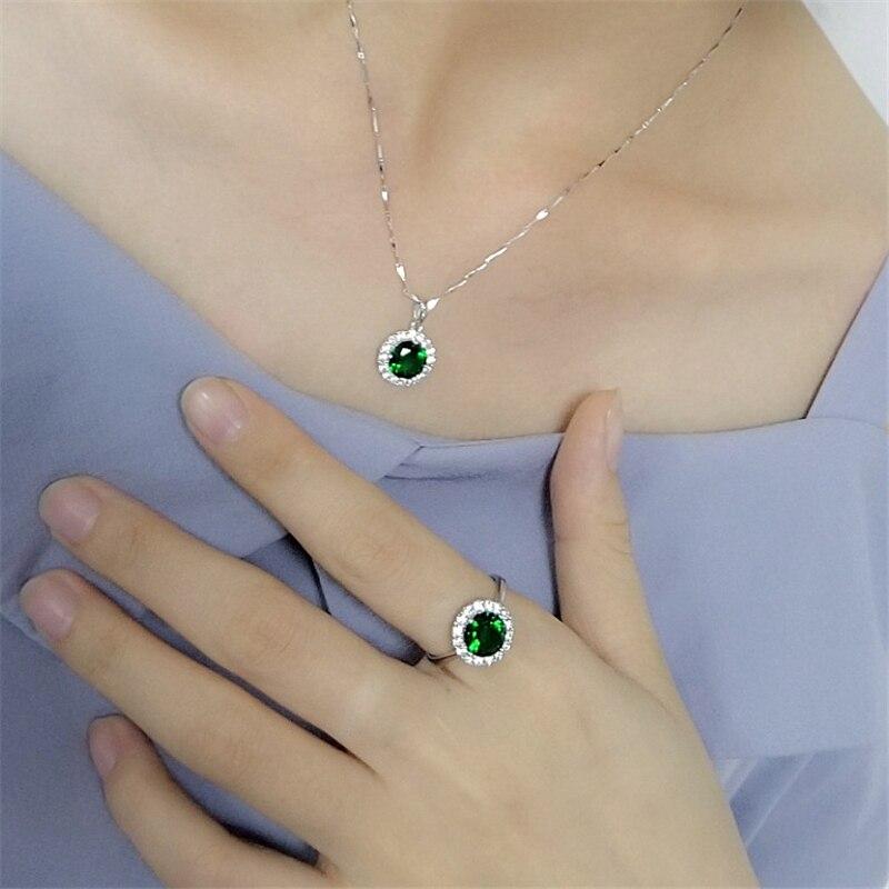 100% véritable argent Sterling 925 vert/rouge naturel cristal pierre boucles d'oreilles anneau pendentif collier femmes S925 élégant ensemble de bijoux
