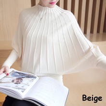 Mode Femme Automne 2018 Fashion Autumn Winter Women Knitted Sweaters and Pullovers Batwing Sleeve Long Knitwear Chandail Femme