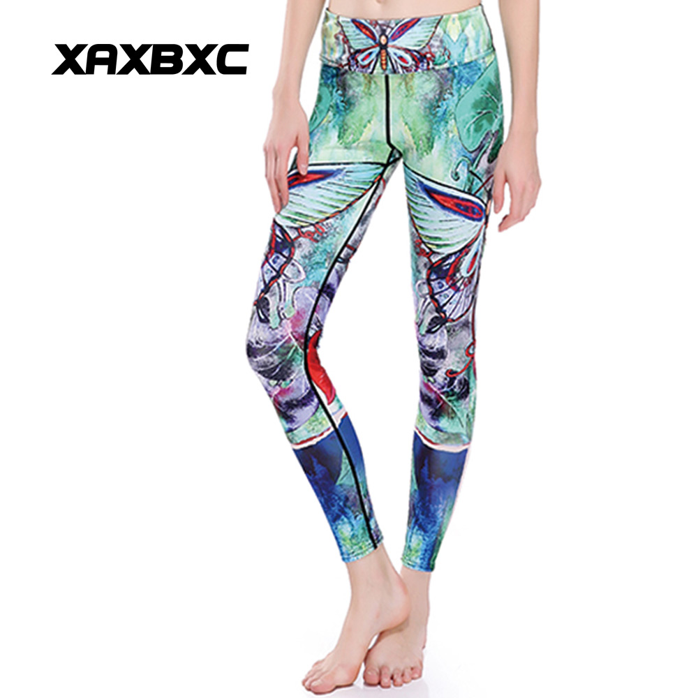 72f69b0ab74 XAXBXC 0038 HI-Q Stitch Sexy Girl GYM Sport Leggings Green Butterfly Prints  Slim Fitness Women Yoag Pants Plus Size
