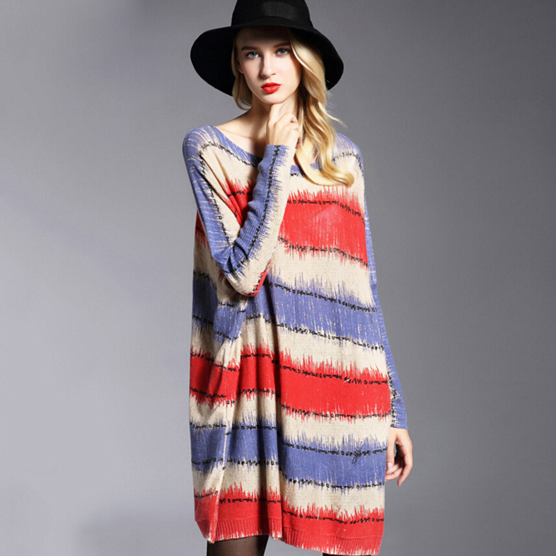 Womens Winter Dress Fashion Wool Blend Loose Sweater Dresses Print Striped Overisized Sweater Plus Size Pullovers for Women