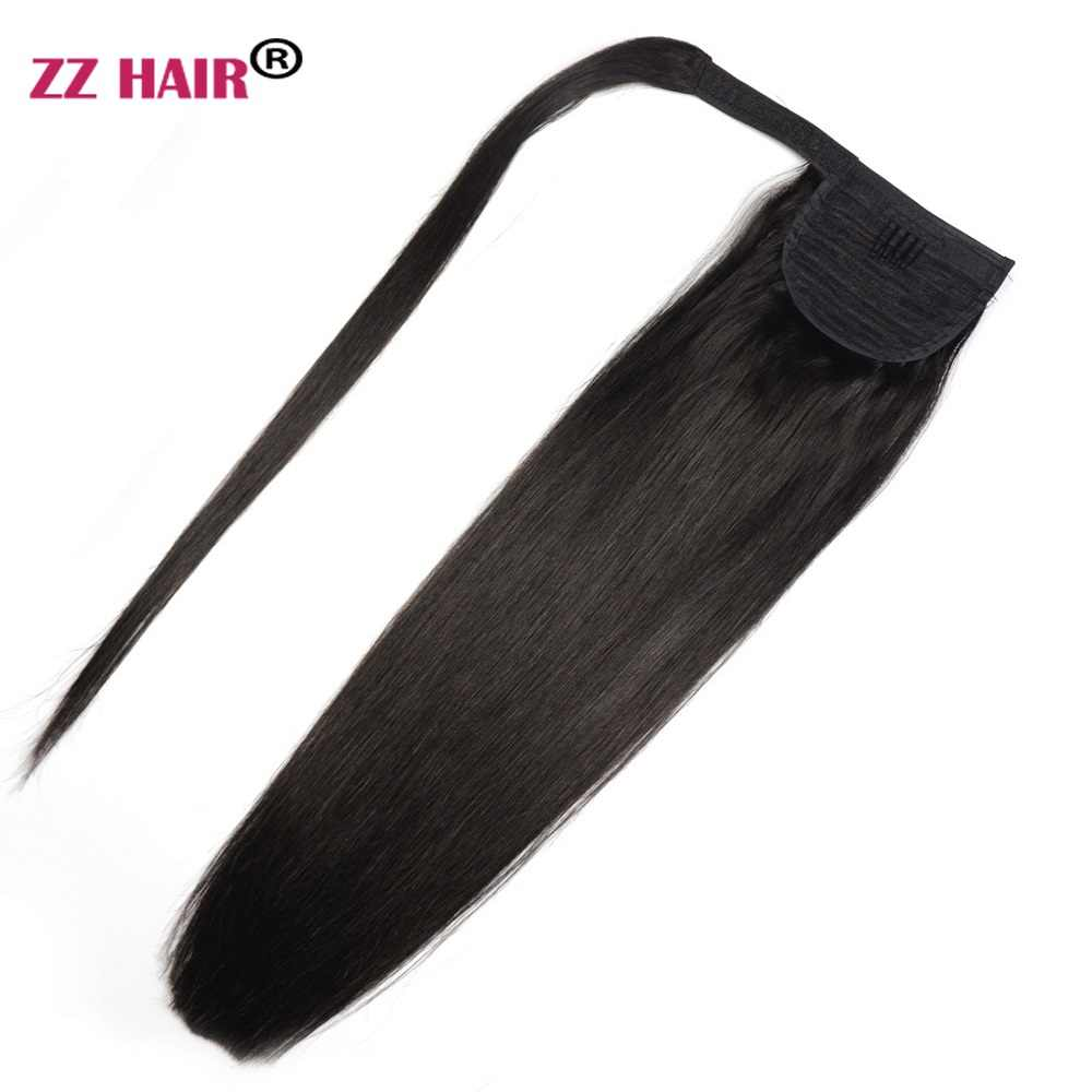 "ZZHAIR 60g 16""-20"" Machine Made Remy Hair Magic Wrap Around Ponytail Clip In 100% Human Hair Extensions Horsetail Stragiht"