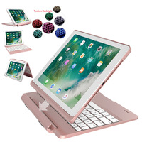 For iPad 9.7 2017 2018 5th 6th Gen / Air / Air 2 / Pro 9.7 7 Colors Backlit Light Wireless Bluetooth Keyboard Case Cover