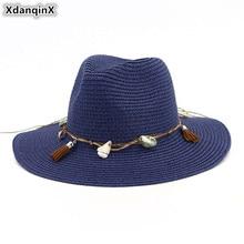 XdanqinX Summer Adult Womens Straw Hat Breathable Sun Hats Headwear Decoration Beach For Women Jazz Sombrero De Paja