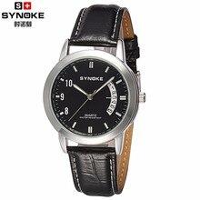 Synoke reloj de los hombres reloj de cuero de los hombres de negocios de los hombres relojes de primeras marcas de lujo de cuarzo relojes de pulsera relogio masculino 2017