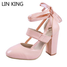 LIN KING Sweet Solid Knot Women Pumps Cross Tie Lace Up High Heel Summer Shoes Square Heel Round Toe Lady Party Shoes Big Size lin king fashion women pumps round toe thick square heel ankle strap platform shoes party bowtie sweet high heel shoes big size