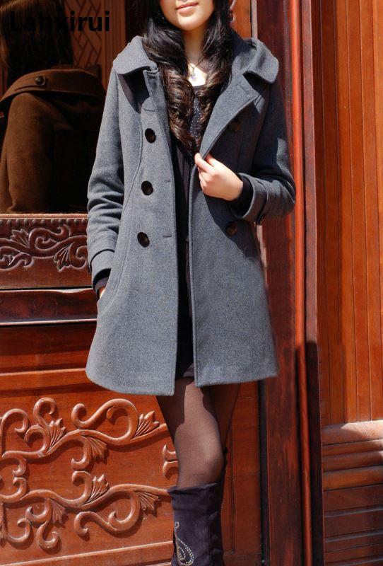 Nouvelle Hiver col de fourrure manteau en laine Laine Coupe-Vent Femmes manteau de cachemire veste d'hiver femmes Femme Plus - 4