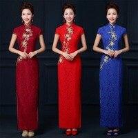 Wino czerwone długie suknie Haftowane koronki cheongsam chiński koronki cheongsam sukienka elegancki formalne chiński sukienki piękne plus size