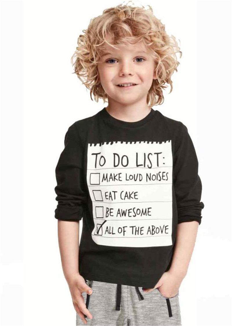 1Set Kids Toddler Boys Handsome Black Blouse + Gray Casual Pants Letters Printe 2017 New ...