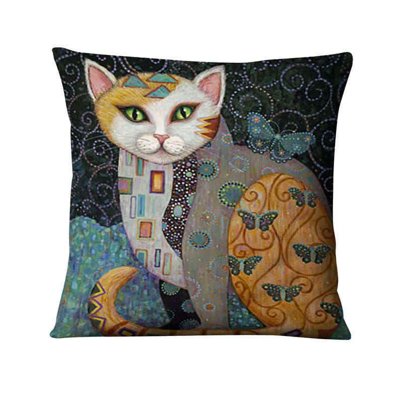 Gato de ouro Impresso Fronha Aquarela Ilustração Fino Linho Almofada Decorativa Pillow Home Decor Sofá Lance 45*45 centímetros Almofadas