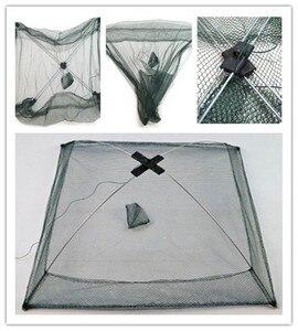 Image 4 - Nowa ulepszona wersja 4 boczne 60 100 cm, ryby, krewetki, kraby, nylon przynęty połowów netto składane łatwe do carry połowów netto