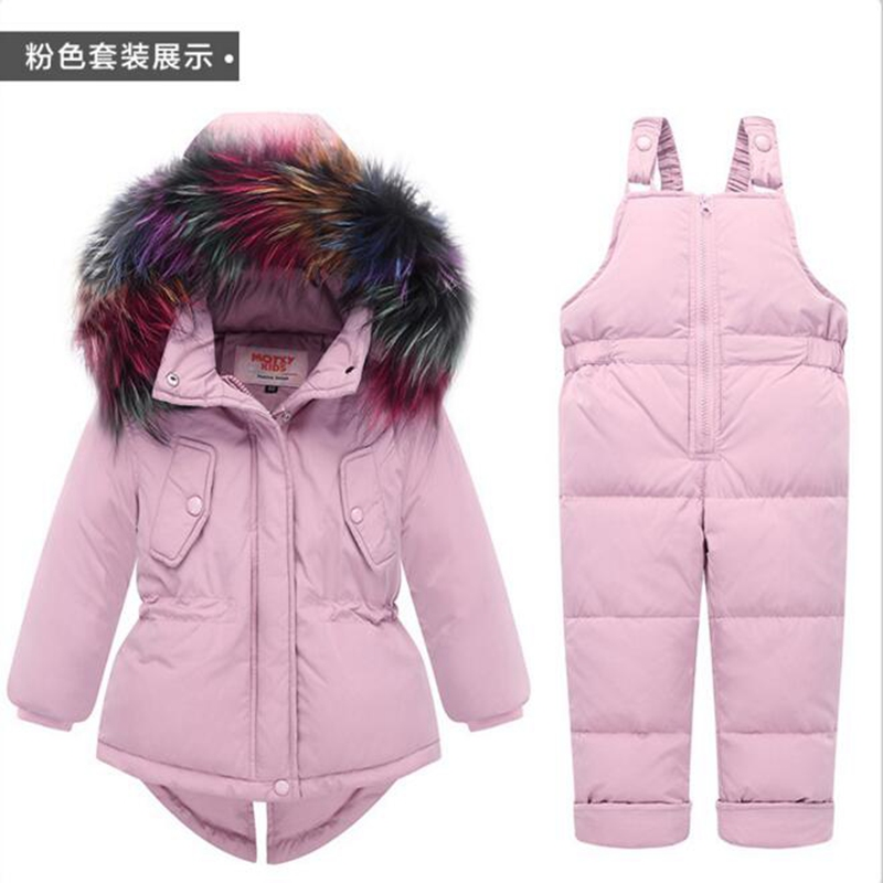Russia Winter Warm Baby Girl's Clothing Sets Girl Ski Suits Children's Outdoor Clothes Fur Down Coats Jackets+trousers/Jumpsuit