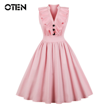цена на OTEN Big Size 4XL Clothes Women 2018 ruffle Sleeveless V Neck Pink Party A Line Knee Length Midi Vintage Rockabilly Skater dress