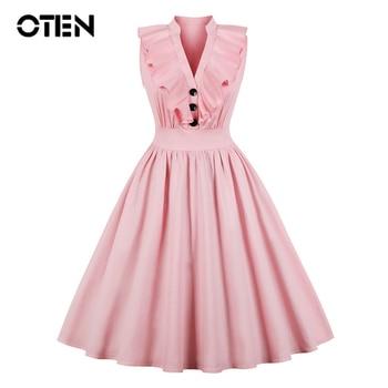 OTEN Big Size 4XL Clothes Women 2018 ruffle Sleeveless V Neck Pink Party A Line Knee Length Midi Vintage Rockabilly Skater dress цена 2017