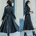 Spring Autumn Fashion Brand Womens Single Breasted Full Length Jackets Leather Long Trench Coat Belted Slim Fit Clothes Big Size